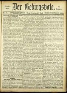 Der Gebirgsbote, 1899, nr 31 [18.04]