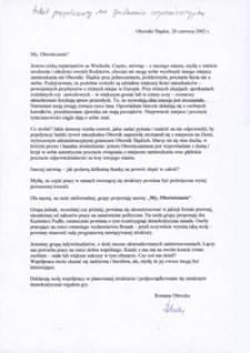 Tekst przemówienia Romany Obrockiej przygotowanego na spotkanie organizacyjne grupy My, Oborniczanie (z autografem autorki), 20 czerwca 2002 r.