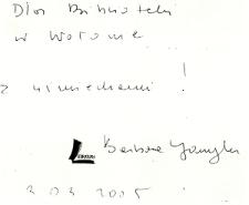 Autograf Barbary Gawryluk [Dokument ikonograficzny]