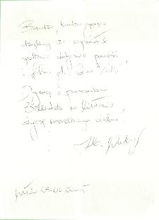 Autograf Zbigniewa Walerysia [Dokument ikonograficzny]
